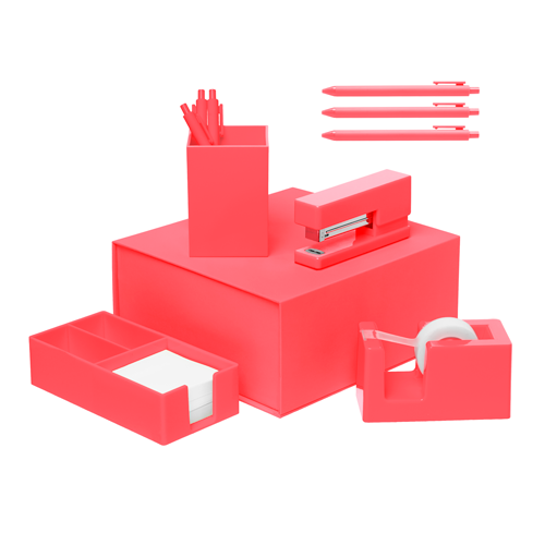 coral desk set