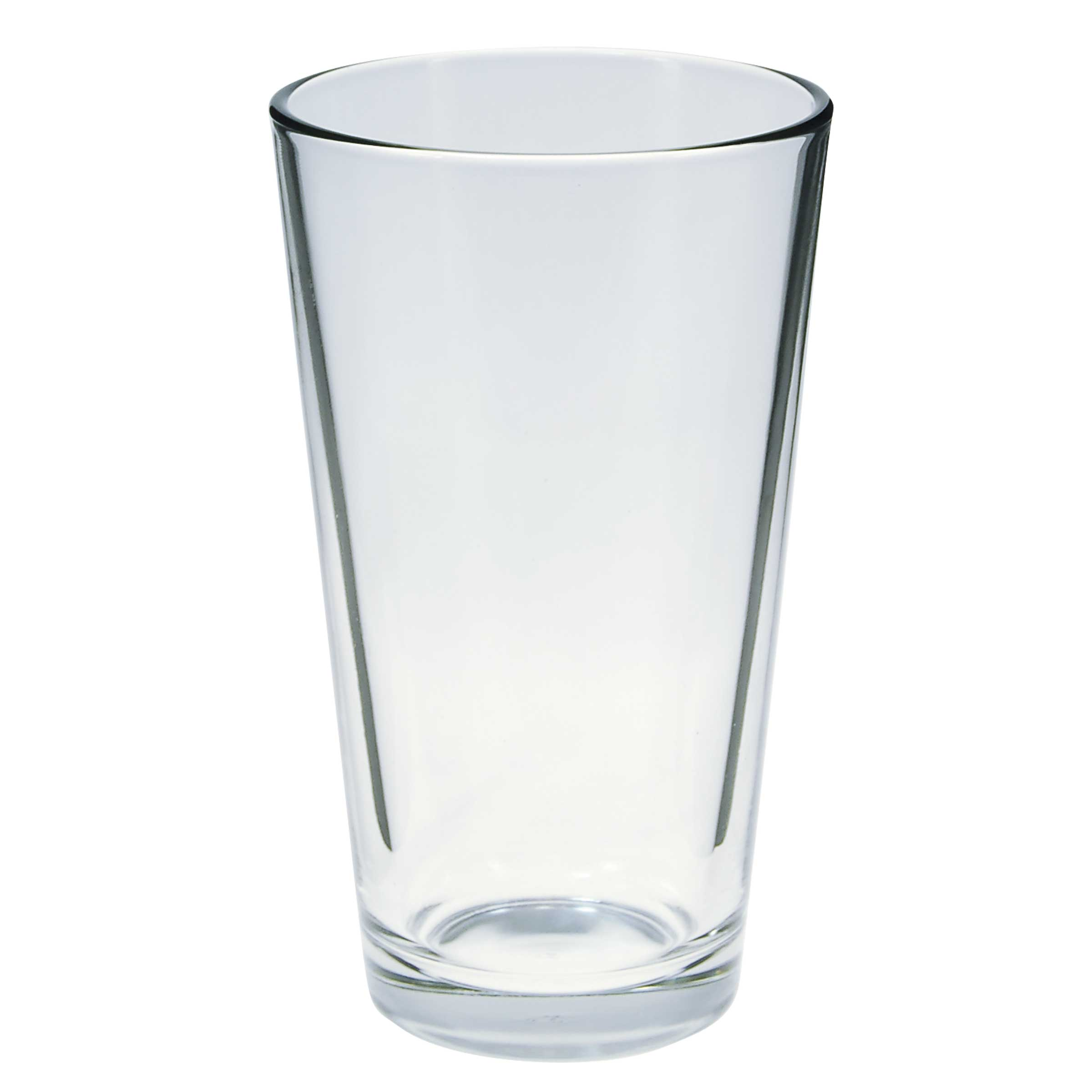 Placeit template of an empty pint glass against an orange background.